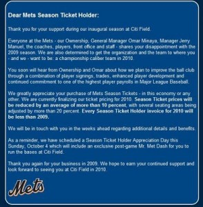 New York Mets season ticket holder letter