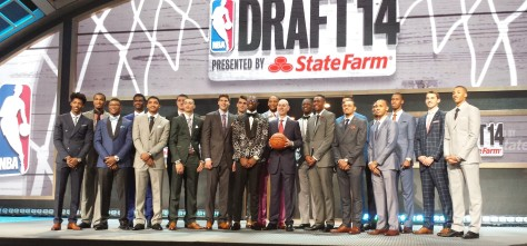 Nik Stauskas (second from right) with the rest of the top prospects and commissioner Adam Silver.