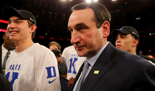 NEW YORK, NY – JANUARY 25: Head coach Mike Krzyzewski of the Duke Blue Devils walks off the court after the win over the St. John's Red Storm at Madison Square Garden on January 25, 2015 in New York City.Duke defeated St. John's 77-68.Duke head coach Mike Krzyzewski recorded his 1,000th win. (Photo by Elsa/Getty Images)