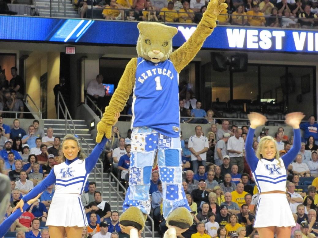 Wildcat mascot and cheerleaders. Photo by Amanda Rykoff