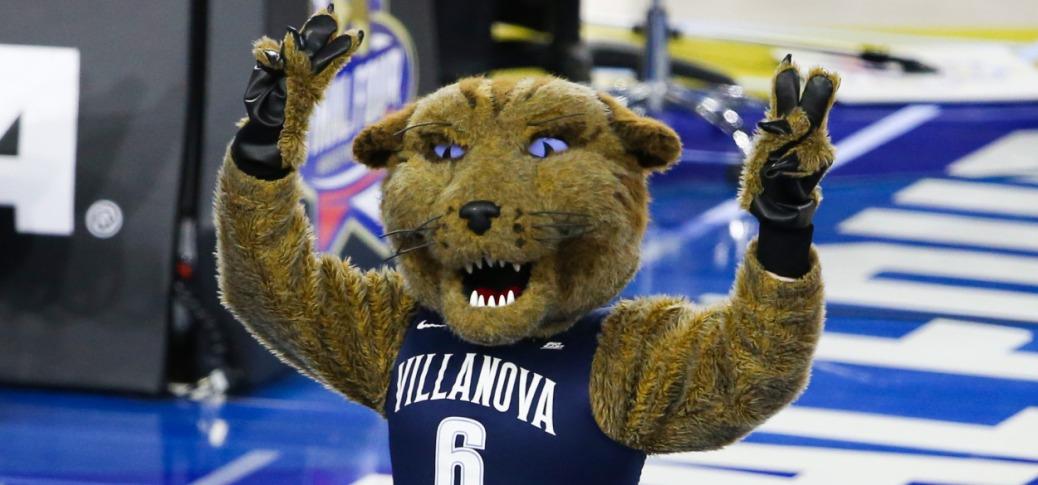 Apr 2, 2016; Houston, TX, USA; Villanova Wildcats mascot reacts after the game against the Oklahoma Sooners in the 2016 NCAA Men's Division I Championship semi-final game at NRG Stadium. Villanova won 95-51. Mandatory Credit: Troy Taormina-USA TODAY Sports