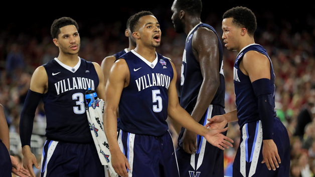 HOUSTON, TEXAS - APRIL 02:  Phil Booth #5 and Jalen Brunson #1 of the Villanova Wildcats react in the second half against the Oklahoma Sooners during the NCAA Men's Final Four Semifinal at NRG Stadium on April 2, 2016 in Houston, Texas.  (Photo by Ronald Martinez/Getty Images)