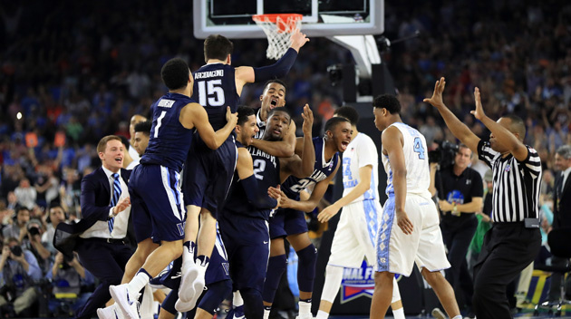 HOUSTON, TEXAS - APRIL 04:  The Villanova Wildcats celebrate defeating the North Carolina Tar Heels 77-74 to win the 2016 NCAA Men's Final Four National Championship game at NRG Stadium on April 4, 2016 in Houston, Texas.  (Photo by Ronald Martinez/Getty Images)