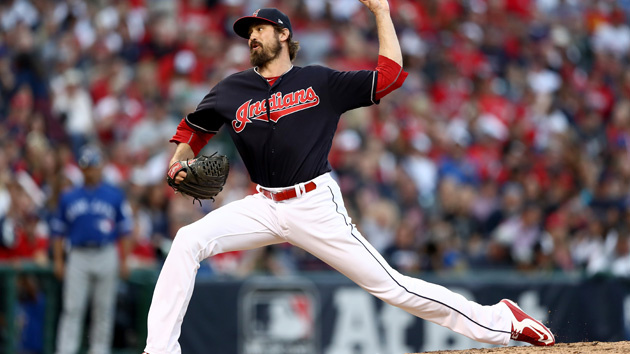 CLEVELAND, OH - OCTOBER 15:  Andrew Miller #24 of the Cleveland Indians throws a pitch in the seventh inning against the Toronto Blue Jays during game two of the American League Championship Series at Progressive Field on October 15, 2016 in Cleveland, Ohio.  (Photo by Elsa/Getty Images)