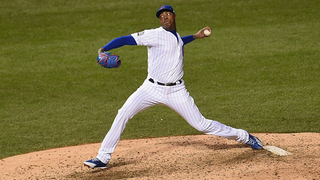 CHICAGO, IL - OCTOBER 30:  Aroldis Chapman #54 of the Chicago Cubs pitches in the seventh inning against the Cleveland Indians in Game Five of the 2016 World Series at Wrigley Field on October 30, 2016 in Chicago, Illinois.  (Photo by Stacy Revere/Getty Images)