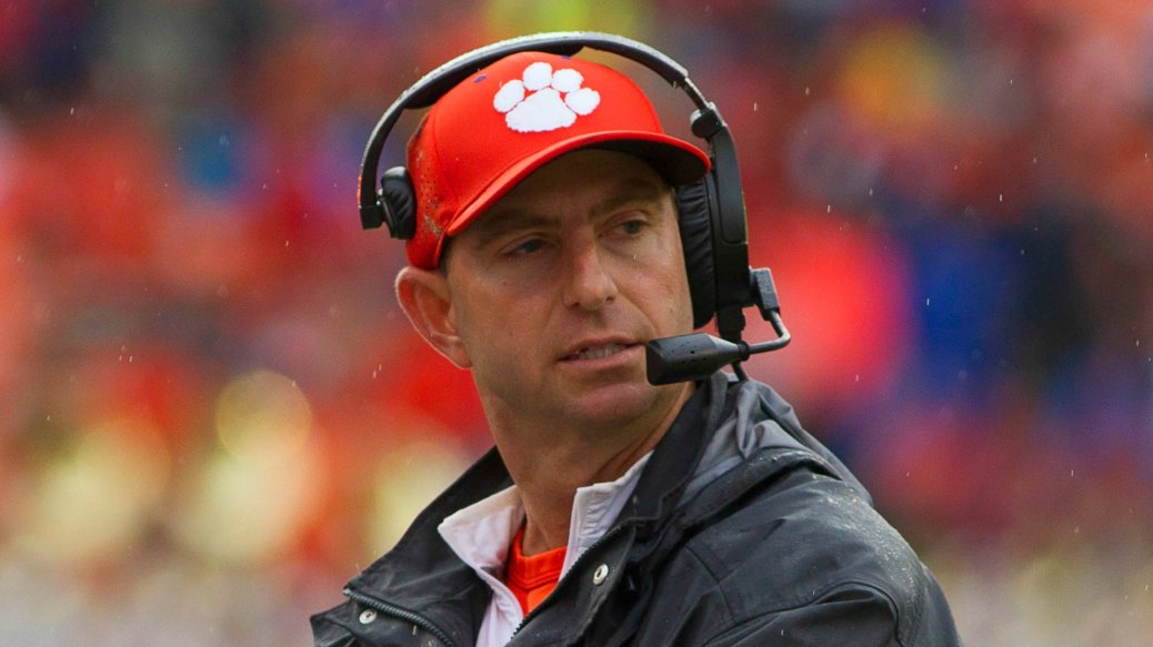 Oct 10, 2015; Clemson, SC, USA; Clemson Tigers head coach Dabo Swinney reacts during the second half against the Georgia Tech Yellow Jackets at Clemson Memorial Stadium. Clemson win 43-24. Mandatory Credit: Joshua S. Kelly-USA TODAY Sports