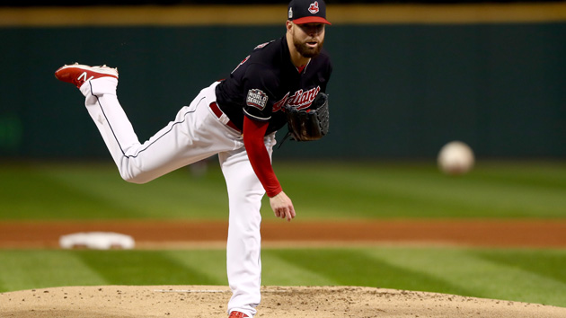 CLEVELAND, OH - OCTOBER 25:  Corey Kluber #28 of the Cleveland Indians throws a pitch against the Chicago Cubs during the first inning in Game One of the 2016 World Series at Progressive Field on October 25, 2016 in Cleveland, Ohio.  (Photo by Elsa/Getty Images)