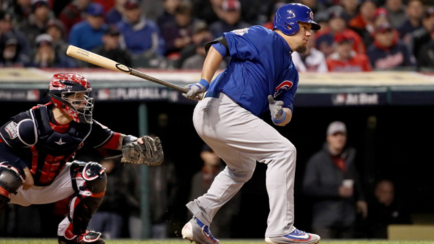 CLEVELAND, OH - OCTOBER 26:  Kyle Schwarber #12 of the Chicago Cubs hits an RBI single to score Ben Zobrist #18 (not pictured) during the fifth inning against the Cleveland Indians in Game Two of the 2016 World Series at Progressive Field on October 26, 2016 in Cleveland, Ohio.  (Photo by Ezra Shaw/Getty Images)