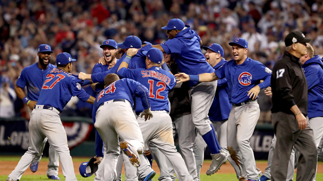 CLEVELAND, OH - NOVEMBER 02:  The Chicago Cubs celebrate after defeating the Cleveland Indians 8-7 in Game Seven of the 2016 World Series at Progressive Field on November 2, 2016 in Cleveland, Ohio. The Cubs win their first World Series in 108 years.  (Photo by Elsa/Getty Images)