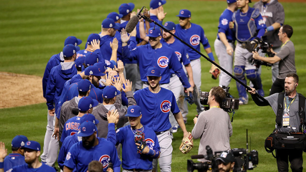 CLEVELAND, OH - NOVEMBER 01:  The Chicago Cubs celebrate after defeating the Cleveland Indians 9-3 to win Game Six of the 2016 World Series at Progressive Field on November 1, 2016 in Cleveland, Ohio.  (Photo by Ezra Shaw/Getty Images)